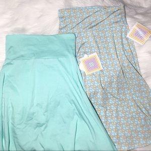 LuLaRoe bundle azure skirt aqua XS solid print